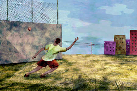 Person playing handball on wall in vacant lot
