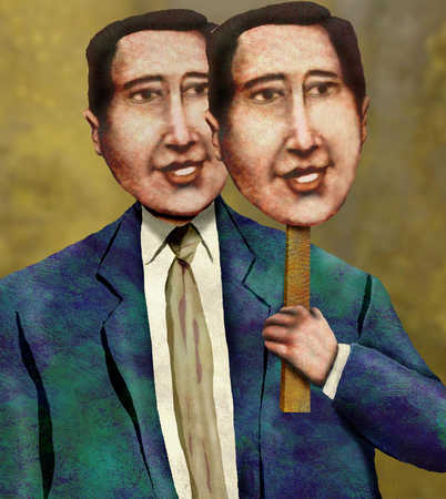 Businessman holding mask next to face