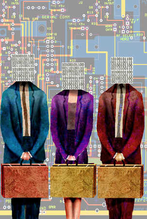 Business people with binary code blocks for head