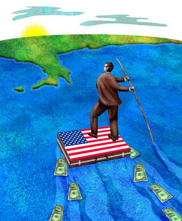 Businessman floating on American flag raft towards Europe
