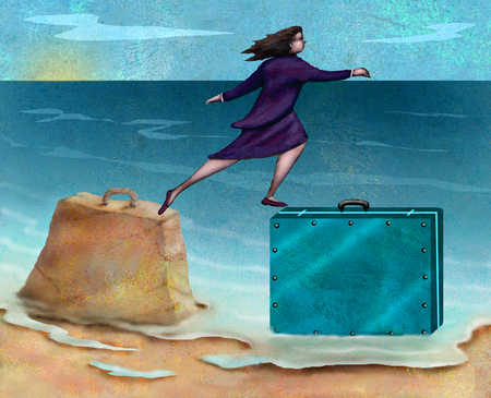 Businesswoman stepping from sand briefcase to metal briefcase