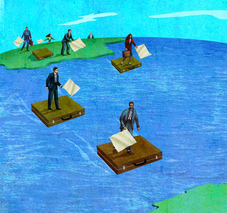 Business people holding papers on briefcase rafts