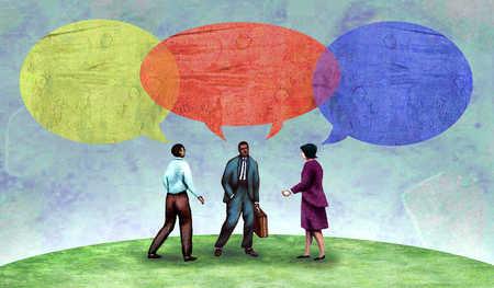 Multi-ethnic business people talking