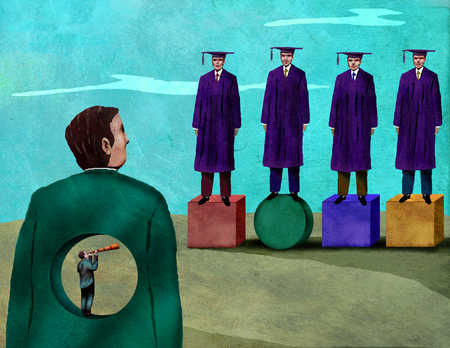 Businessman with hole in body looking at graduates on shapes