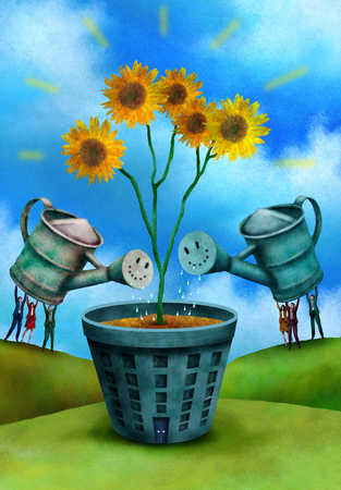 Business people watering building with sunflowers