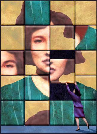 Businesswoman arranging mosaic tiles