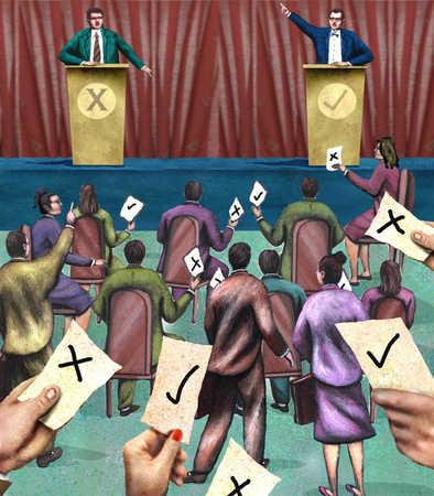 Politicians having debate and people voting