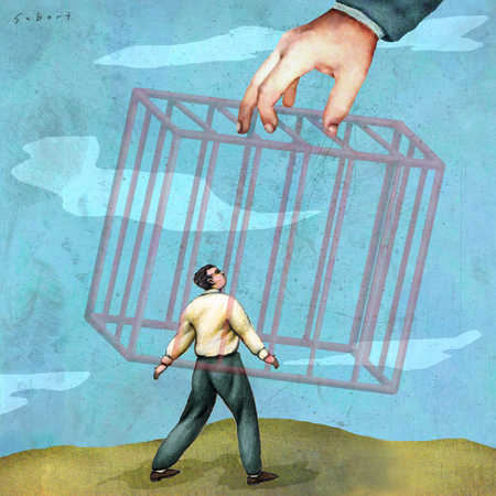Hand putting cage over businessman