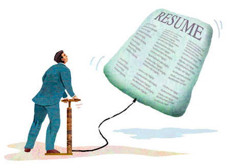 Businessman inflating resume