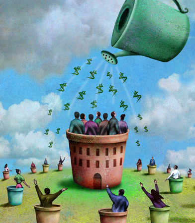 Watering can pouring dollar signs on people in pots