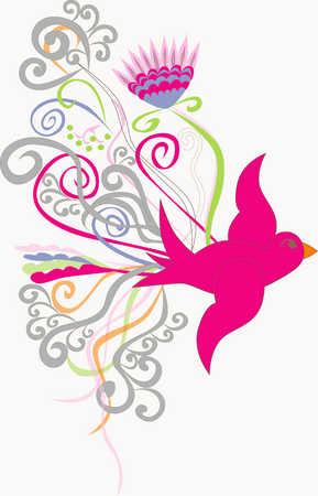 Illustration of bird and design