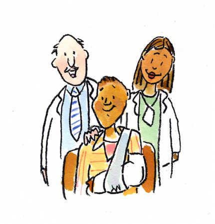 Multi-ethnic doctors behind patient with cast