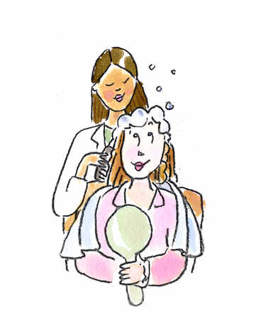 Female hairstylist coloring woman's hair