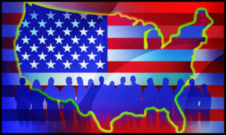 Illustration of people, United States and American flag
