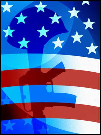 Illustration of helmet on rifle with American flag