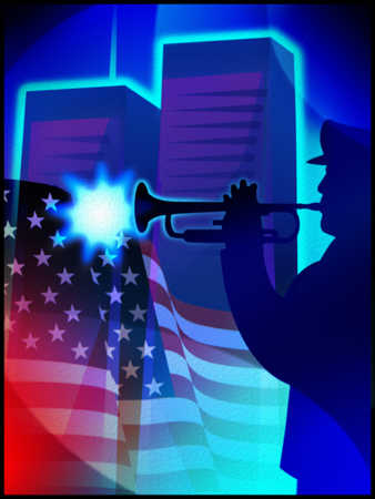 Illustration of man playing trumpet next to American flag and Twin Towers