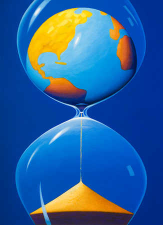 Globe turning into sand in hourglass