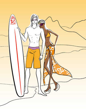 Multi-ethnic couple with surfboard at beach