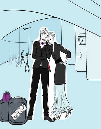 Newlyweds next to luggage in airport