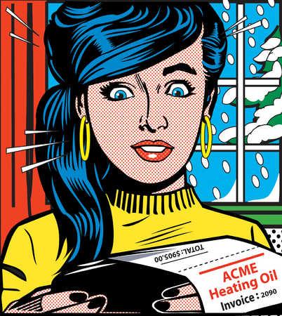 Surprised woman reading heating bill
