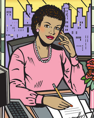 African businesswoman writing at desk