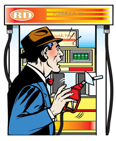 Surprised man holding gas pump nozzle