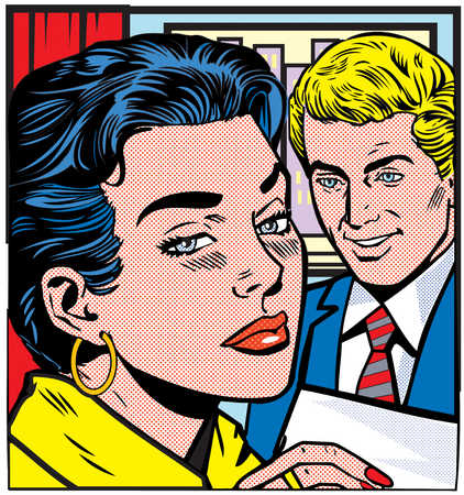 Illustration of businessman looking at woman