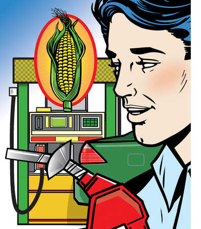 Man holding gas pump nozzle next to ear of corn