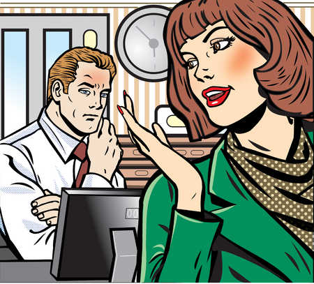 Businesswoman talking to businessman