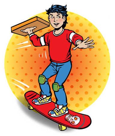 Boy carrying pizza on skateboard