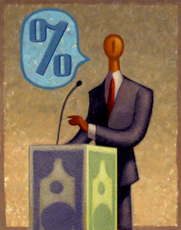 Businessman speaking at podium