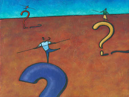 Business people balancing on question marks