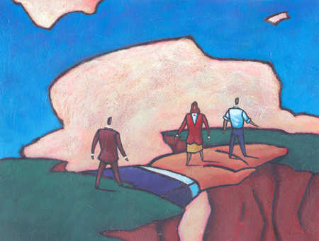 Business people walking over hand across chasm