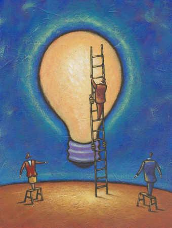 Businessman climbing ladder on light bulb