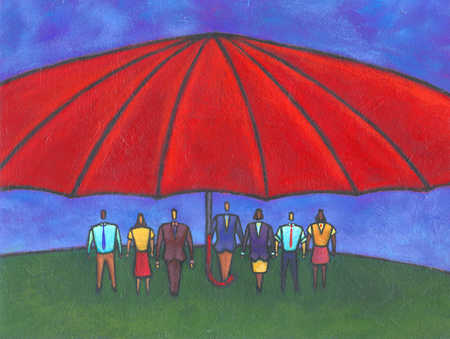 Multi-ethnic business people standing under umbrella