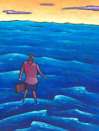 Businesswoman walking on water