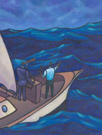 Businessmen navigating on ship