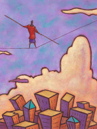 Businesswoman tightrope walking over city
