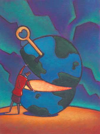 Businesswoman unlocking globe