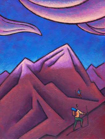People mountain climbing