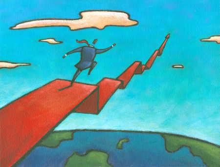 Businessman running on ascending graph line