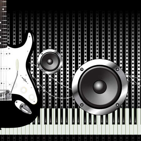 Guitar, speakers and keyboard