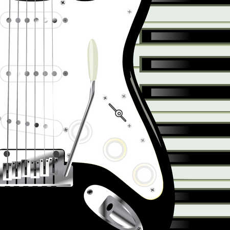 Close up of electric guitar and keyboard