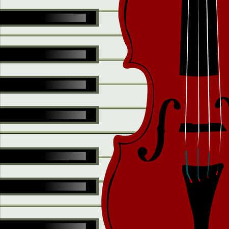 Close up of violin and keyboard