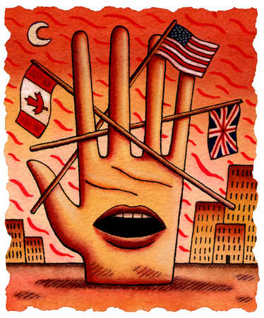 Hand with mouth and international flags