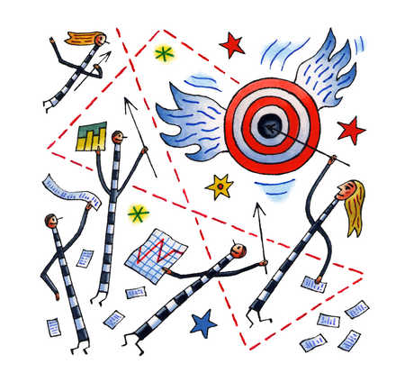 Montage of stick people, financial charts and a flying bull's eye