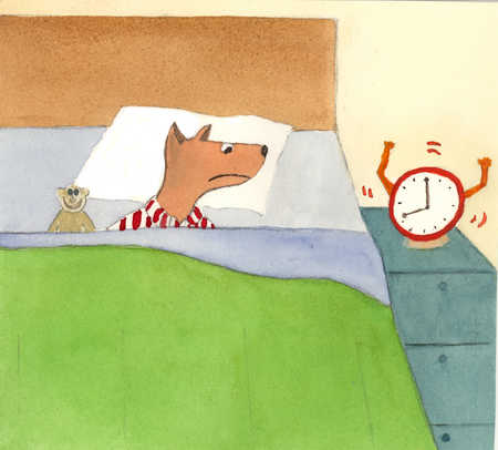 Dog in bed waking to alarm clock