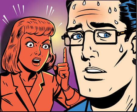 Angry woman shouting at sweating man