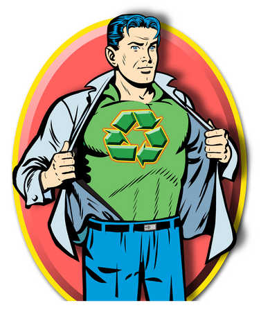 Man revealing superhero costume with recycle symbol