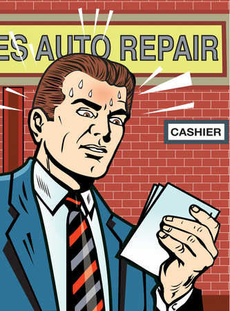 Man holding bill and sweating at auto repair shop